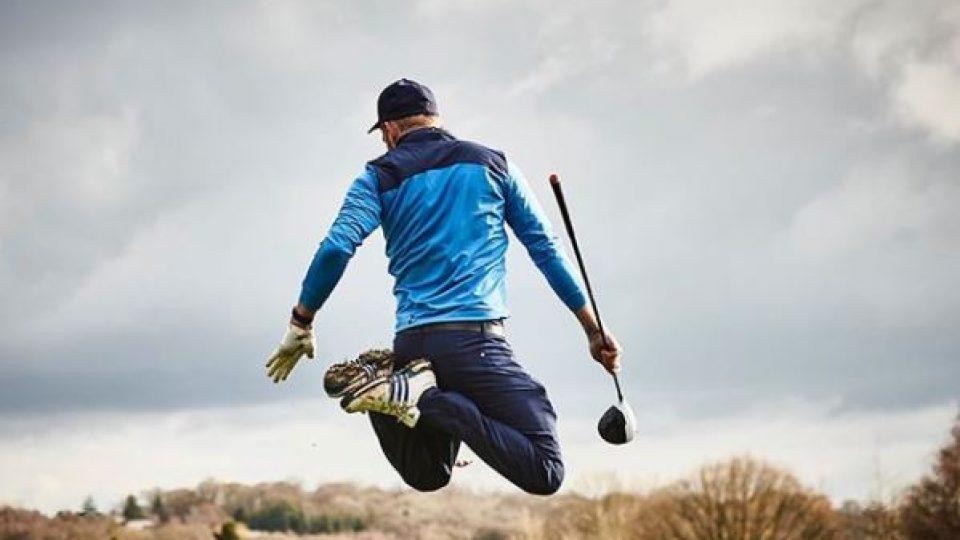 jumping golfer